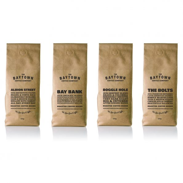 Pack shots of Baytown The Bolts Coffee, Boggle Hole Coffee, Albion Street Coffee and Bay Bank Coffee